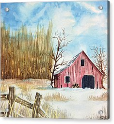 Acrylic Print featuring the painting Snowy Barn by Rebecca Davis