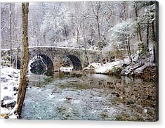Snowy Bridge Along The Wissahickon Acrylic Print by Bill Cannon