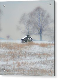 Snowy Cabin At Valley Forge Acrylic Print by Bill Cannon