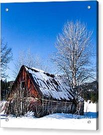 Snowy Cabin Acrylic Print by Robert Bales