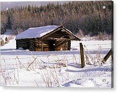 Snowy Cabin Acrylic Print