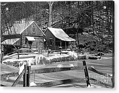 Snowy Cabins In Black And White Acrylic Print by Paul Ward