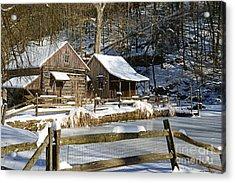 Snowy Cabins Acrylic Print by Paul Ward