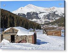 Snowy Cabins Acrylic Print