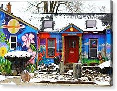Snowy Cafe Acrylic Print