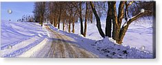 Snowy Country Road Acrylic Print by Panoramic Images