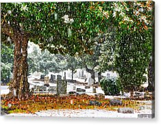 Snowy Day At The Cemetery - Greensboro North Carolina Acrylic Print by Dan Carmichael