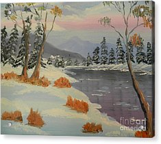 Snowy Day In Europe Acrylic Print by Pamela  Meredith