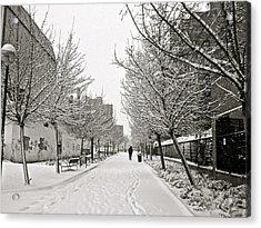 Snowy Day In Madrid Acrylic Print by Galexa Ch