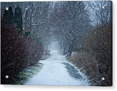 Snowy Day In Newport Acrylic Print by Allan Millora