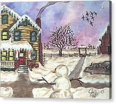 Acrylic Print featuring the painting Snowy Day by The GYPSY And DEBBIE