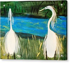 Snowy Egrets At The Pond Acrylic Print by Marie Bulger
