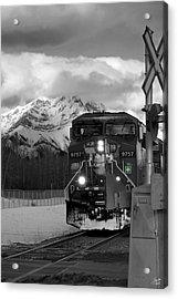 Snowy Engine Through The Rockies Acrylic Print by Lisa Knechtel