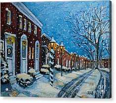 Snowy Evening In Garden Crest Acrylic Print by Rita Brown