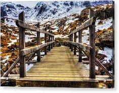 Snowy Footbridge Acrylic Print by Ian Mitchell