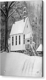 Snowy Gates Chapel -white Church - Portrait View Acrylic Print