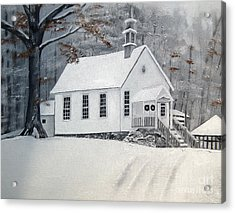 Snowy Gates Chapel  -little White Church - Ellijay Acrylic Print