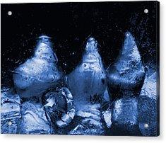 Snowy Ice Bottles - Blue Acrylic Print by Sami Tiainen