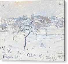 Snowy Landscape At Eragny With An Apple Tree Acrylic Print by Camille Pissarro