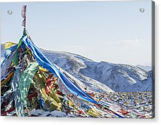 Snowy Landscape With Prayer Flags Acrylic Print