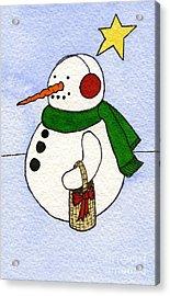 Snowy Man Acrylic Print by Norma Appleton
