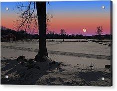 Acrylic Print featuring the photograph Snowy Moonrise by Larry Landolfi