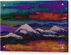 Snowy Mountains On A Colorful Winter Night Acrylic Print by Beverly Claire Kaiya