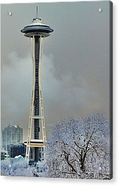 Snowy Needle Acrylic Print by Benjamin Yeager