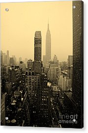 Snowy New York Skyline Acrylic Print