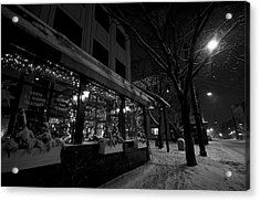 Snowy Night In Burlington Acrylic Print by Mike Horvath