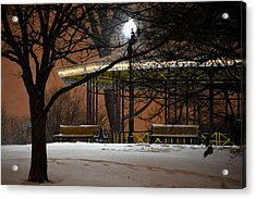 Acrylic Print featuring the photograph Snowy Night In Leone Riverside Park by Bill Swartwout