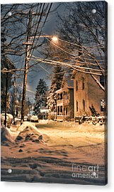 snowy night in Northampton Acrylic Print by HD Connelly