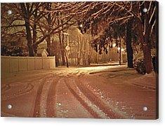 Snowy Night Acrylic Print by Mikki Cucuzzo