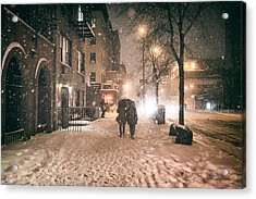 Snowy Night - Winter In New York City Acrylic Print by Vivienne Gucwa