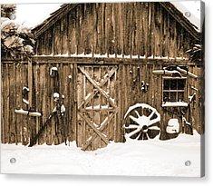 Snowy Old Barn Acrylic Print