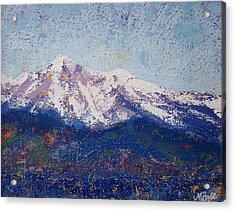 Acrylic Print featuring the painting Snowy Peaks by Margaret Bobb