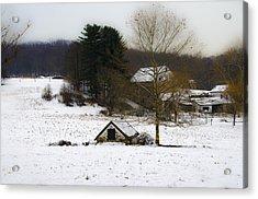 Snowy Pennsylvania Farm Acrylic Print by Bill Cannon
