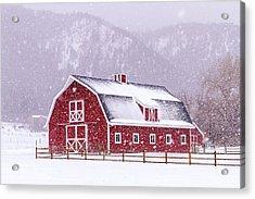 Snowy Red Barn Acrylic Print