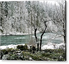 Snowy River And Bank Acrylic Print by Belinda Greb