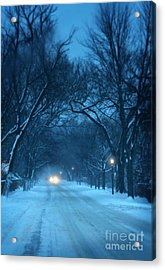 Snowy Road On A Winter Evening Acrylic Print by Jill Battaglia