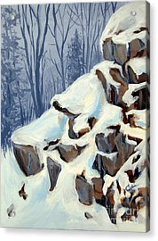 Acrylic Print featuring the painting Snowy Rocks by Carol Hart