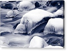Acrylic Print featuring the photograph Snowy Rocks by Liz Leyden