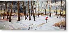 Snowy Single Track  Acrylic Print
