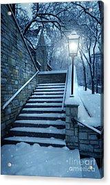 Snowy Stairway Acrylic Print by Jill Battaglia