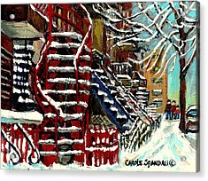 Snowy Steps The Red Staircase In Winter In Verdun Montreal Paintings City Scene Art Carole Spandau Acrylic Print by Carole Spandau