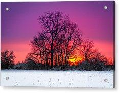 Snowy Sunset Acrylic Print
