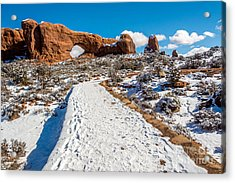 Snowy Trail To The North Window Acrylic Print by Bob and Nancy Kendrick