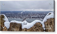 Acrylic Print featuring the photograph Snowy View From Garvin Heights Winona by Kari Yearous