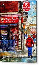 Snowy Walk By The Tea Room And Pastry Shop Winter Street Montreal Art Carole Spandau  Acrylic Print by Carole Spandau