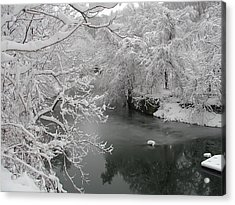 Snowy Wissahickon Creek Acrylic Print by Bill Cannon